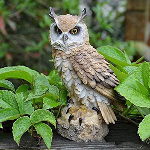 AMYZ Best Owl Resin Figurine Bird Statue Garden Landscape Ornament for Home Desk House Garden Lawn Decoration Beautiful (Color:Beige)
