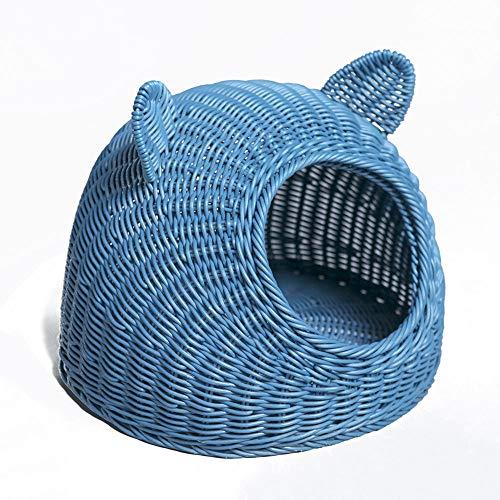 FNCUR Blue Rattan Cat Ears Cat Nest Pet Bed Diseño Curvo Pet Supplies, PP Material De Resina