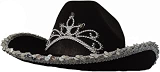 Black Cowboy Cowgirl Tiara Felt Light Up Rodeo Princess Hat