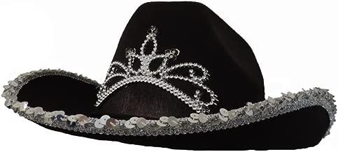 Black Cowboy Cowgirl Tiara Felt Light Up Rodeo Princess Hat