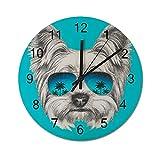 Reloj de Pared Digital Redondo,Diseño Vintage de Londres con Sello Big,Decoración casera rústica silenciosa Que no Hace tictac con Pilas de Madera para la Sala de Estar de 10 Pulgadas