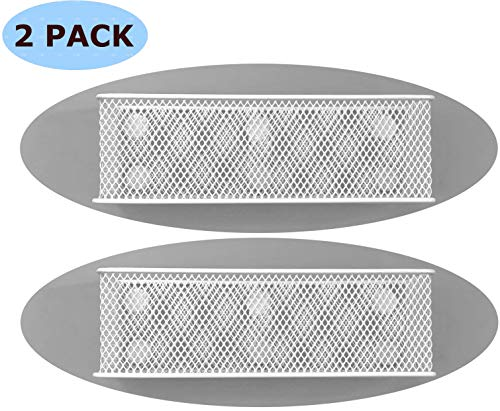 Premium Magnetic Basket Magnetic Pencil Holder Magnetic Locker Accessories Magnetic Marker Holder Locker Organizer - 7.8' Wide - 6 Strong Magnets - 2 Pack - White