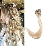 Extensions a Clip Vrai Cheveux [7 Pieces 16 Pouces 40cm 80g] Rajout Cheveux Clip Naturel Extension #6/27/60 Brun Moyen Mixte Blond Miel Et Blond Platine Cheveux Naturels Court Raide