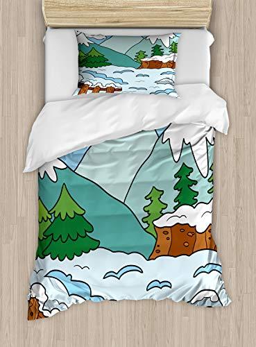 ABAKUHAUS Northwoods Dekbedovertrekset, Winterbergen, Decoratieve 2-delige Bedset met 1 siersloop, 130 cm x 200 cm, Veelkleurig