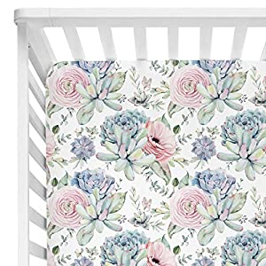 """crib bedding and baby bedding sahaler succulents baby crib sheets for boy girl, watercolor cactus fitted crib bed mattress sheets, boho baby gift, nursery bedding fits standard crib mattress 28x52"""" (pastel succulents)"""