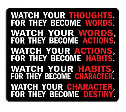 Smooffly Gaming Mouse Pad Custom,Watch Your Thoughts Motivational Words Quotes Mouse pad 9.5 X 7.9 Inch (240mmX200mmX3mm)