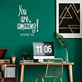 You are Amazing! Remember That - Inspirational Life Quotes - Wall Art Vinyl Decal - 34' x 23' Decoration Vinyl Sticker - Motivational Wall Art Decal - Bedroom Living Room Decor (White)