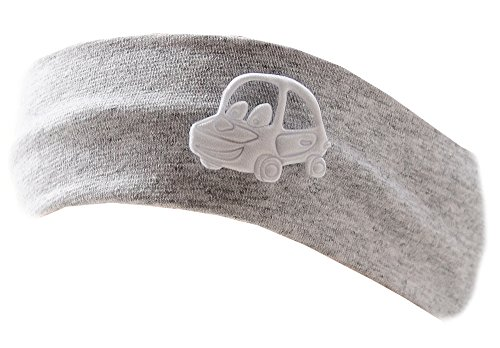 La Bortini Baby Kinder Haarband Stirnband Hairband Grau mit Auto festlich sommerlich (KU 35-43cm.)