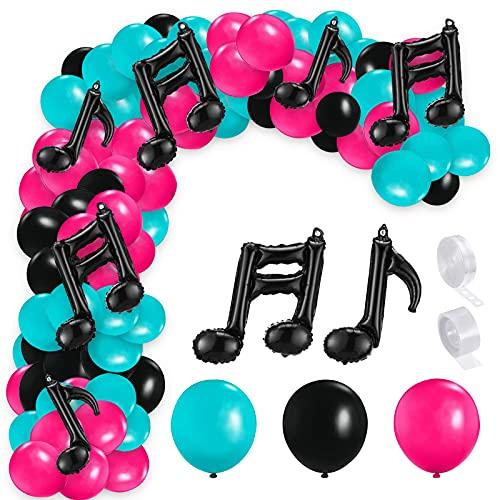 Yisscen TIK Tok Ballon Décoration d'anniversaire,Soirée à thème de Musique Fournitures de Décorations Ballon Musique Noir Chaîne de Ballon en Latex Ballon en Aluminium d'hélium Guirlande de Ballons
