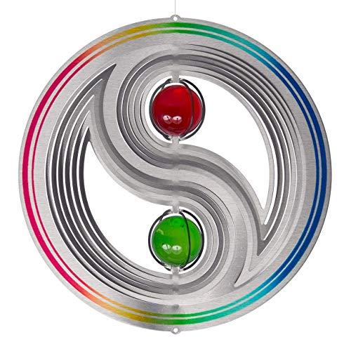 CIM Edelstahl Windspiel - Orbit Yin Yang 300 Rainbow - Ø30mm, Kugeln: 2xØ50mm - inklusiv Kugellagerwirbel, Haken und 1m Nylonschnur