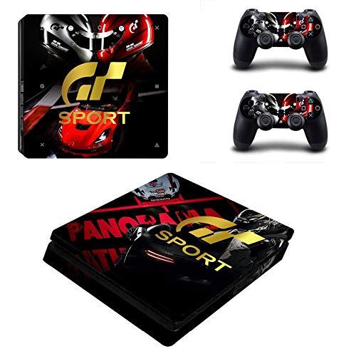 WANGPENG Gran Turismo Sport & GT Sport Style Skin Sticker Cover para Playstation 4 Slim PS4 Consola Delgada y calcomanías de Cubierta de 2 Controladores