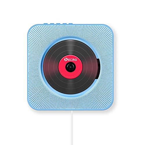 CD Player Bluetooth an der Wand montierbaren tragbaren CD-Musik-Player,FM-Radio Eingebauter HiFi-Lautsprecher, unterstützt USB/MP3/3,5 mm Kopfhörerbuchse mit Fernbedienung für Kinder-Blau