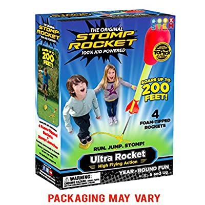 Stomp Rocket Ultra Rocket, 4 Rockets - Outdoor Rocket Toy Gift for Boys and Girls - Comes with Toy Rocket Launcher - Ages 5 Years and Up