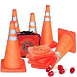 5PCS Collapsible Traffic Cones Road Parking Cones Safety Construction Cones Emergency With Flashing Lamp...