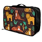 Qurbet Bolsas de Viaje, Funny Lions,Tigers,Leopards and Leaves Pattern Overnight Carry On Luggage Waterproof Fashion Travel Bag Lightweight Suitcases