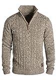!Solid Pankraz Herren Winter Pullover Strickpullover Troyer Grobstrick mit Zopfstrickmuster und...