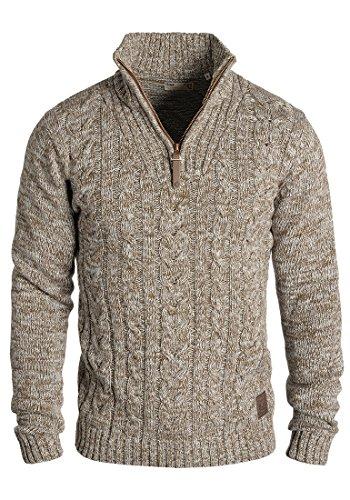 !Solid Pankraz Herren Winter Pullover Strickpullover Troyer Grobstrick mit Zopfstrickmuster und Reißverschluss, Größe:L, Farbe:Dune (5409)