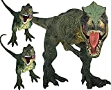 Gemini&Genius 3Pcs Jurassic Park Dinosaur World Tyrannosaurus Rex with Cubs Set Action Figures Toy with Moveable Jaw Dinos Rex Models Cool Birthday Cake Topper, Party Gift for Kids 3-12 Years Old
