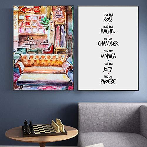 Friends TV Show Poster Acuarela Sofá Cuadros Decorativos Lienzo Arte De La Pared Citas Clásicas Impresiones Artísticas Cuadro De Pared para Dormitorio Decoración Hogar A2 42x60cmx2 Sin Marco