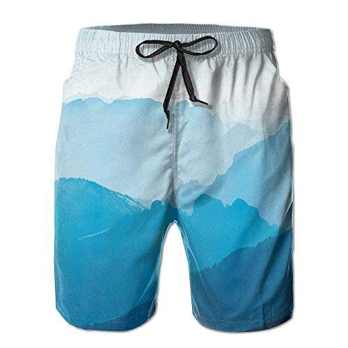 GOSMAO Mountain Painting Tabla de Surf Ligera Pantalones Cortos de Playa Surf Correr Nadar Pantalones Cortos con Pokets