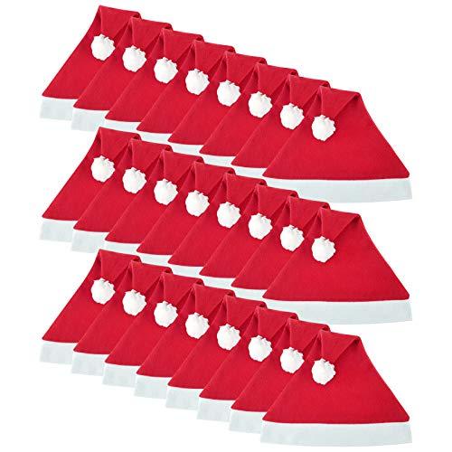 WELLGRO 24 Weihnachtsmützen mit Bommel - 30 x 30 cm (BxH), Einheitsgröße, rot/weiß