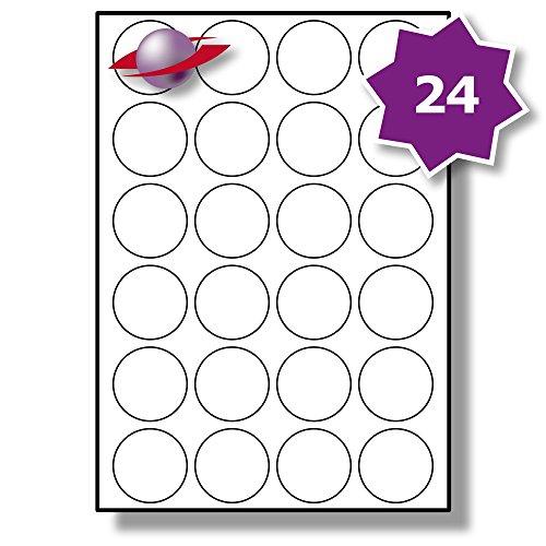 24 Pro Blatt, 10 Blätter, 240 Etiketten. Label Planet® A4 Runden Schlicht Weiß Matt Papier Etiketten Für Tintenstrahl und Laserdrucker 45mm Durchmesser, LP24/45 R.