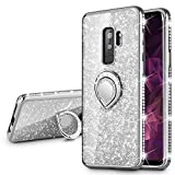 VEGO Galaxy S9 Plus (Not S9) Glitter Case Sparkle Bling Diamond Case for Women for Girls with Ring Holder Luxury Rhinestone Bumper Protective Case with Kickstand for Samsung Galaxy S9 Plus(Silver)