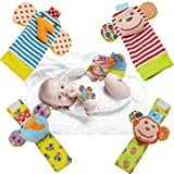 Baby Wrist Rattles Toys 0-3-6-12 Months & Foot Sock Rattle Toy for Babies, Soft Newborn Toys for Infant Boy or Girl, Monkey, Elephant 4pcs
