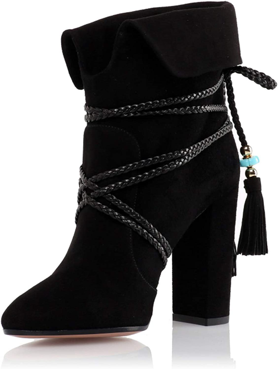 Women's Booties, Fall Winter Ankle Boots Thick Heel Suede Lace-up Fringe Boots Ladies Round Head Increase Fashion Boots Martin Boots (color   B, Size   44)