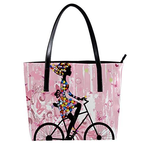 LORVIES Mädchen Fahrradtasche mit rosa Schmetterlingen aus PU-Leder und Handtaschen für Damen
