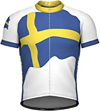 ScudoPro Sweden Emblem Full Zipper Bike Short Sleeve Cycling Jersey for Men