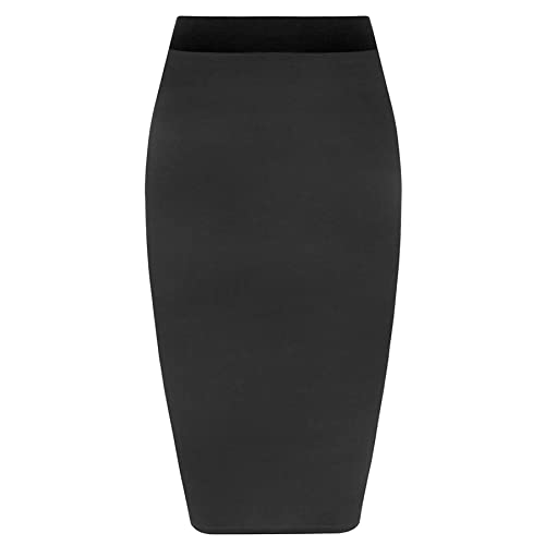 ae29fa3365149 Womens Pencil Stretch Tube Wiggle Ladies Contrast Elasticated Waistband Fit  Bodycon Plain Office Midi Skirt