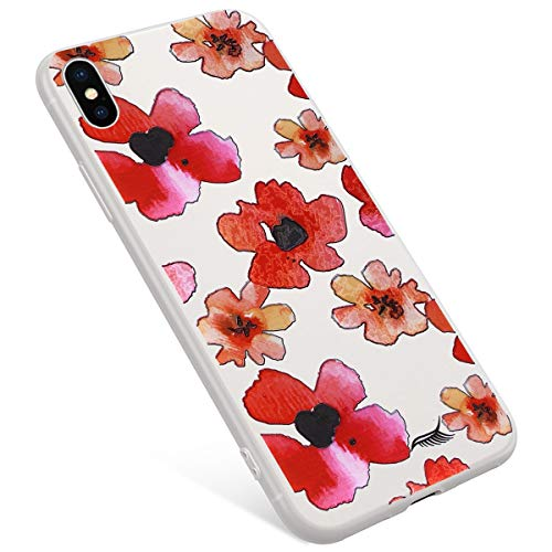Uposao Coque Compatible avec iPhone X Coque,iPhone XS Coque Matte Etui Premium Semi Transparent Motif Rose Fleur Soft TPU Silicone Coque Anti-Choc Bumper Ultra Mince Hybrid Slim Case Coque iPhone X/XS