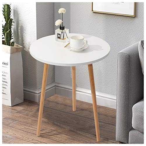 Haton Side Table, Round White Modern Home Decor Coffee Tea End Table for Living Room, Bedroom and Balcony, Easy Assembly (16.5 × 20.5 inches)
