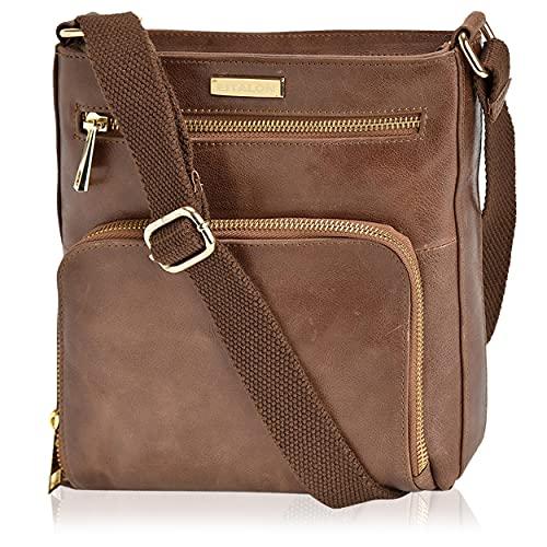 Crossbody Bags for Women - Real Leather Small Vintage Adjustable Shoulder Bag (Russet)