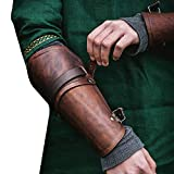 Syktkmx Gauntlet Wristband Medieval Vambraces Arm Armor Cuff Punk Gothic Faux Leather Costume Bracers