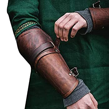Faux Leather Armor Gauntlet Bracers Viking Gauntlet Wristband Medieval Costume Arm Cuff Punk Gothic Vambraces