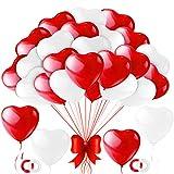 100 Piezas Globos Corazones,Globos Rojo Blanco 12 Pulgadas,Rojo Corazón Latex Balloon,Decoración para Bodas Fiestas Aniversario,Baby Shower,San Valentín y Compromiso,Fiestas de Cumpleaños