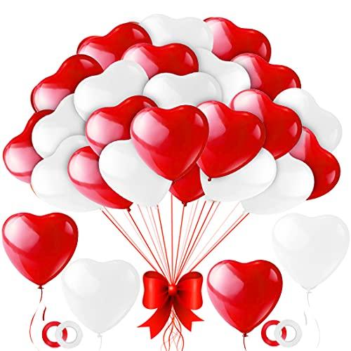Palloncini Cuore Rosso,100 Pezzi Amore Cuore Lattice Palloncini Rosso Bianchi,Palloncini a Forma di Cuore Rossi per Valentines Day,Nozze San Valentino Love Romantica Decorazione