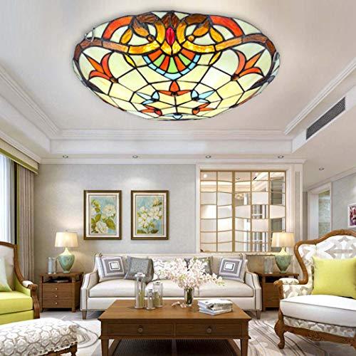 Plafoniere a LED in stile Tiffany,Plafoniera barocca in vetro colorato per la luce degli apparecchi del montaggio a livello del corridoio del salone della camera da letto,Chip LED,Whitelight,30cm