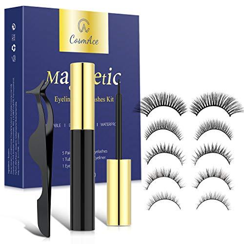 CosmAce Magnetische Wimpern Magnetic Eyeliner Set 3D Magnet Künstliche Wimpern mit 5 Magnete Wasserdichtem Langlebigem Wiederverwendbare Falsche Magnetic Eyelashes 5Paar