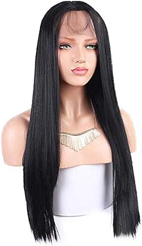venta mundialmente famosa en línea Peluca negra con flequillo Peluca Peluca Peluca delantera de encaje Peluca de pelo largo y liso verde Día de San Valentín transpirable Pelucas de 26 pulgadas para mujeres  servicio considerado