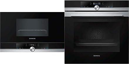 Siemens BE634RGS1 iQ700 Mikrowelle / 900 W / 21 L Garraum/LED-Innenbeleuchtung/Edelstahl & HB634GBS1 iQ700 Einbau Backofen/A / 71 l/Schwarz/Edelstahl / 4D Heißluft