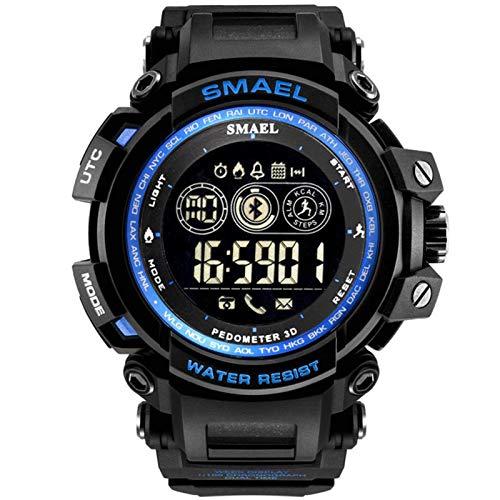 SMAEL Reloj Digital para Hombre 50M Impermeable Deportivo Relojes De Pulsera Prueba para Hombre, Reloj Militar Negro LED con Alarma Luminoso Alarma Cronógrafo Bluetooth,Azul