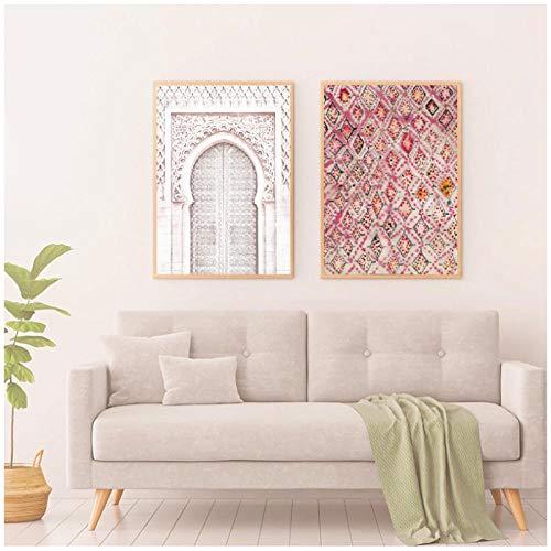 MULMF Vintage Rose Teppich Kunstdrucke Wand Dekor vielseitige Poster alte Tür Marokko Tür Kunst Leinwand Malerei Arbeit Bilder-40x60cmx2 kein Rahmen