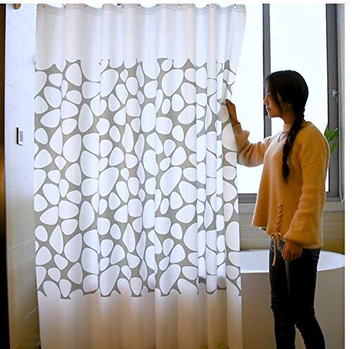 XQWZM 1 Unids Blanco Gris Piedra Baño de Tela Vintage 3D con Ganchos de Plástico Impresión Cortina de Ducha Impermeable, 180X200Cm
