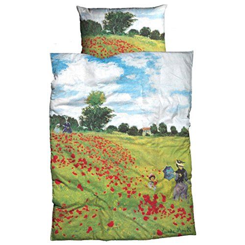 'Cama de Satén Después de Claude Monet 'El Campo De Amapolas, funda de edredón: aprox. 140cm x 200cm, almohada: aprox. 70cm x 90cm, 100% algodón
