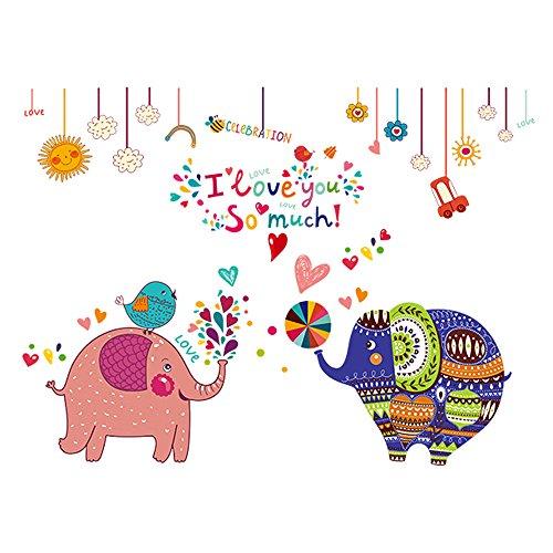 Winhappyhome Cute Elephant Applique Art Stickers Muraux pour Les Enfants Chambre Nursery Salon Café FenêTre Fond Stickers DéCor Amovibles