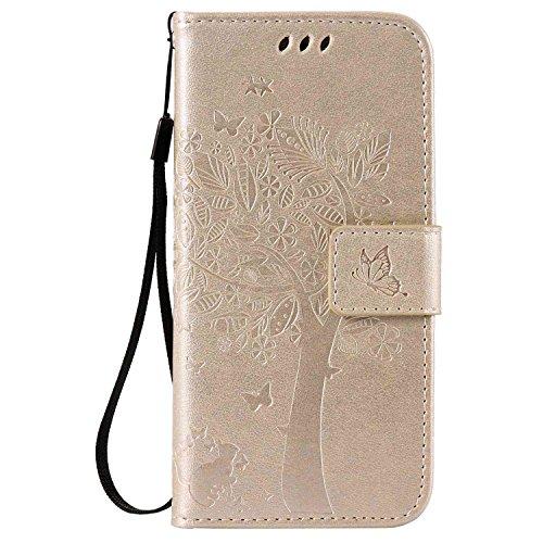 pinlu® PU Ledertasche Etui Schutz Hülle für HTC One M9 (5 Zoll) Katze Baum Muster Design Lederhülle im Bookstyle Schale Flip Cover mit Kartenfach & Standfunktion (Gold)