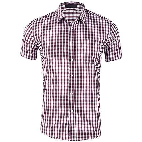 Casuales Camisas Hombre Verano Moda Cuadros Estampado Hombre Shirt Moderno Básico Cardigan Bolsillo Hombre Camiseta Diario Casual Transpirable Hombre Manga Corta D-Brown S